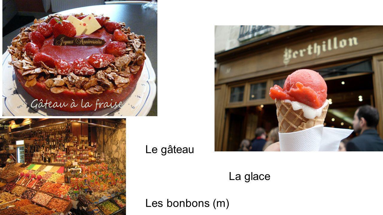 Le gâteau La glace Les bonbons (m)