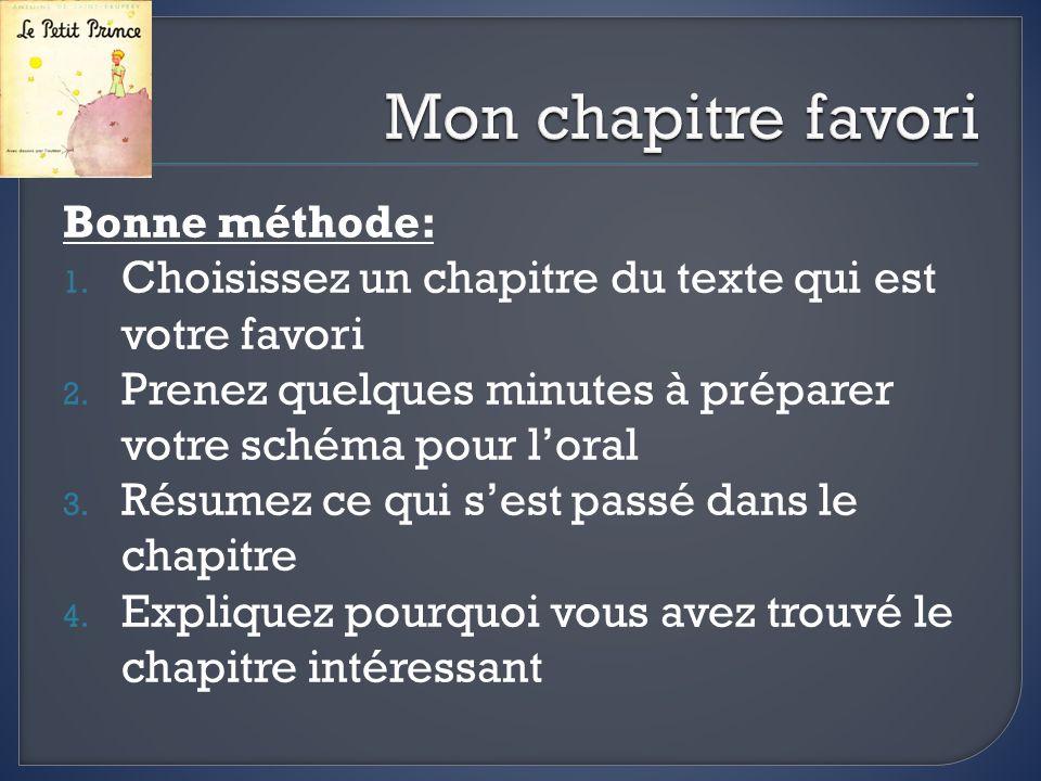 Bonne méthode: 1. Choisissez un chapitre du texte qui est votre favori 2.