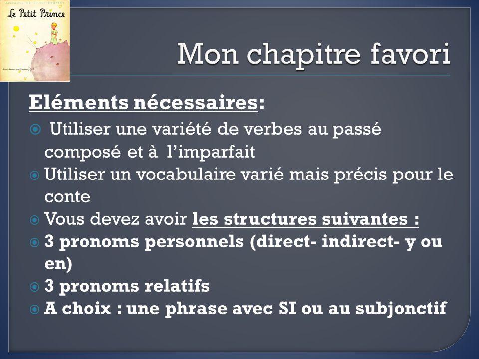 Des expressions utiles: Au début du chapitre… Bien que …+ subjonctif Quant à moi… Il ne faut pas oublier… Dans le fond… Malgré tout… Pour faire un résumé Pour donner une opinion Pour conclure
