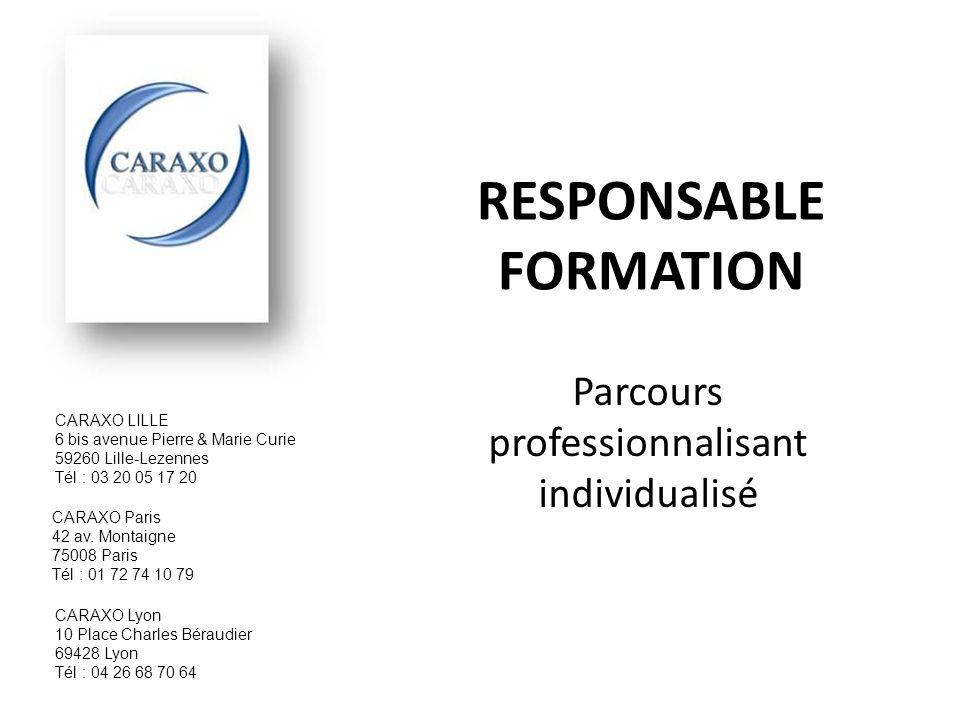 RESPONSABLE FORMATION Parcours professionnalisant individualisé CARAXO Lyon 10 Place Charles Béraudier 69428 Lyon Tél : 04 26 68 70 64 CARAXO LILLE 6