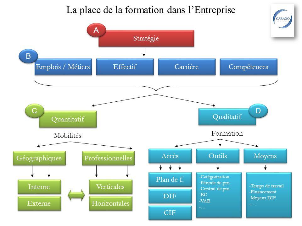 La place de la formation dans lEntreprise Stratégie Emplois / Métiers Effectif Carrière Compétences Qualitatif Quantitatif Formation Mobilités Accès O