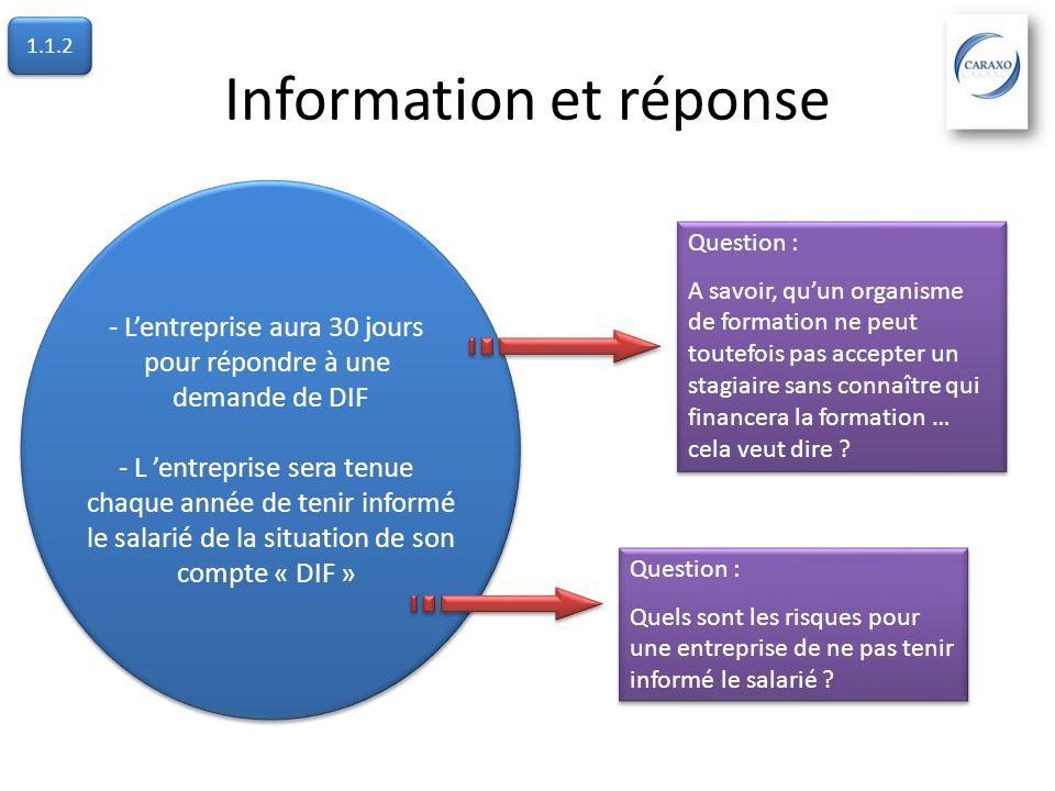 Information et réponse - Lentreprise aura 30 jours pour répondre à une demande de DIF - L entreprise sera tenue chaque année de tenir informé le salar