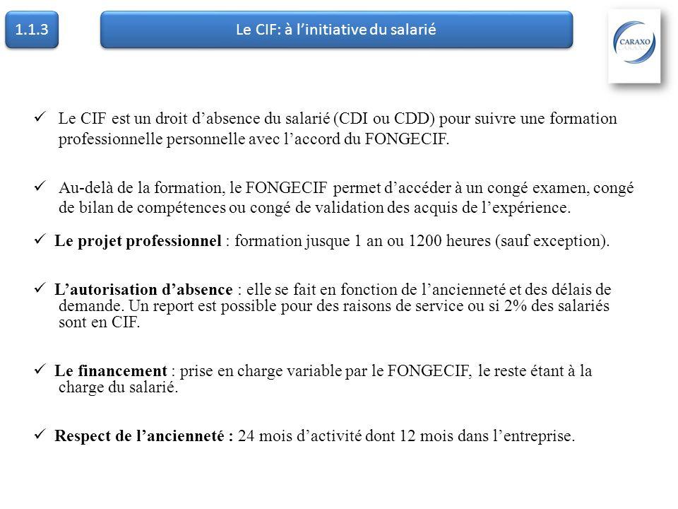 1.1.3 Le CIF: à linitiative du salarié Le CIF CDD : Conditions déligibilité : -Avoir travaillé au moins 24 mois dans les 5 dernières années -Dont 4 mois en CDD consécutifs ou non au cours des 12 derniers mois -Faire la demande au Fongécif au plus tard dans les 12 mois qui suivent le dernier CDD Les intérêts : -Choix de la formation de son choix, de préférence professionnalisante -Maxi 12 mois ou 1.200 heures -Statut de stagiaire de la formation professionnelle -Rémunération de entre 80 et 100 % (selon le fongécif)