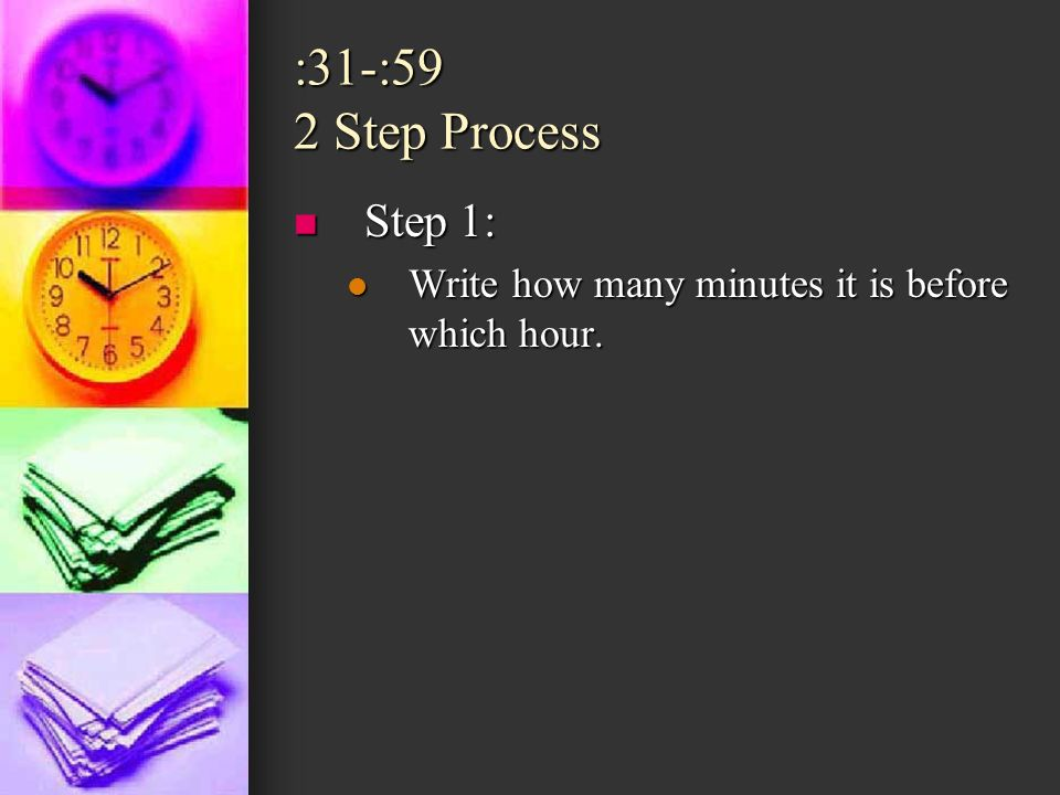 :31-:59 2 Step Process Step 1: Step 1: Write how many minutes it is before which hour.