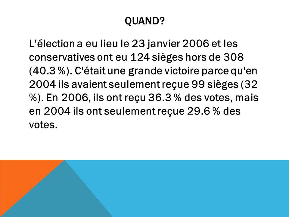 QUAND? L'élection a eu lieu le 23 janvier 2006 et les conservatives ont eu 124 sièges hors de 308 (40.3 %). C'était une grande victoire parce qu'en 20