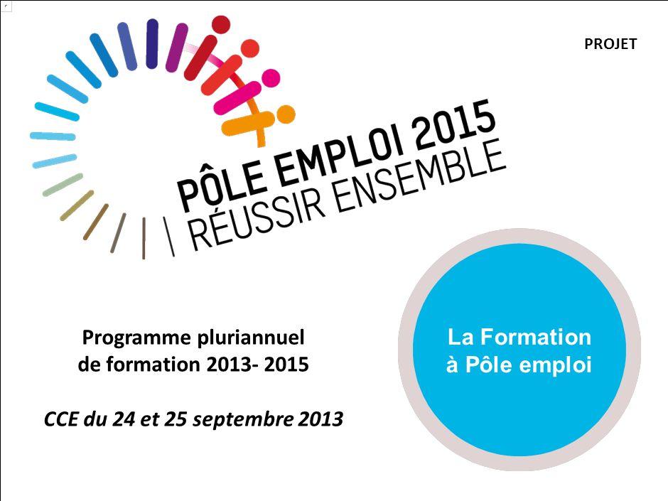 Programme pluriannuel de formation 2013- 2015 CCE du 24 et 25 septembre 2013 La Formation à Pôle emploi PROJET