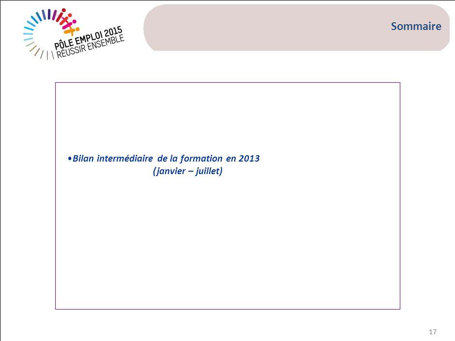 17 Bilan intermédiaire de la formation en 2013 (janvier – juillet) Sommaire