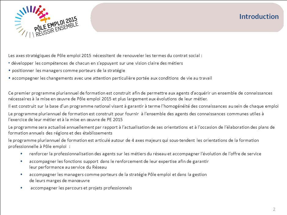 2 Introduction Les axes stratégiques de Pôle emploi 2015 nécessitent de renouveler les termes du contrat social : développer les compétences de chacun