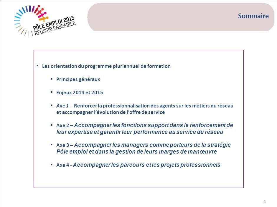 44 Les orientation du programme pluriannuel de formation Principes généraux Enjeux 2014 et 2015 Axe 1 – Renforcer la professionnalisation des agents s