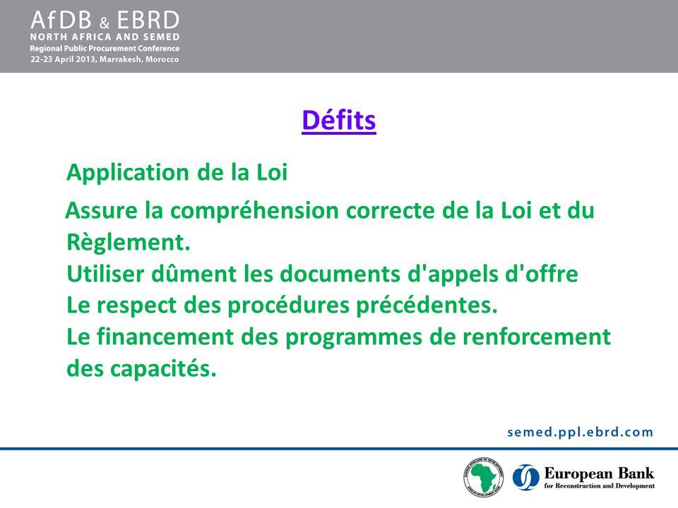 Défits Application de la Loi Assure la compréhension correcte de la Loi et du Règlement. Utiliser dûment les documents d'appels d'offre Le respect des