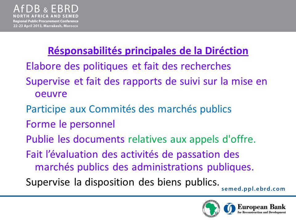 Résponsabilités principales de la Diréction Elabore des politiques et fait des recherches Supervise et fait des rapports de suivi sur la mise en oeuvr