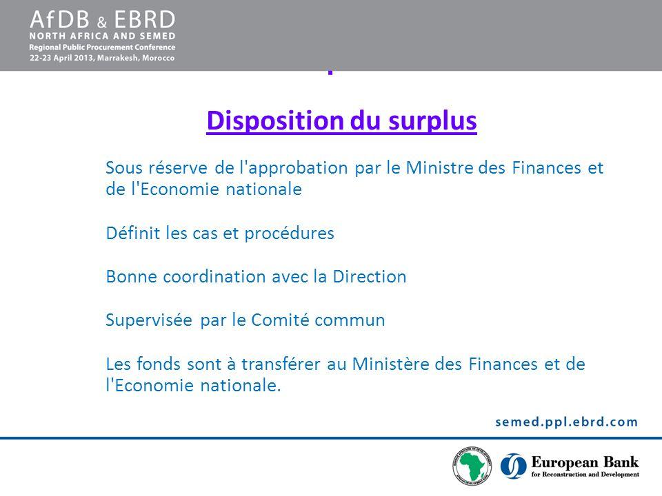 . Disposition du surplus Sous réserve de l'approbation par le Ministre des Finances et de l'Economie nationale Définit les cas et procédures Bonne coo