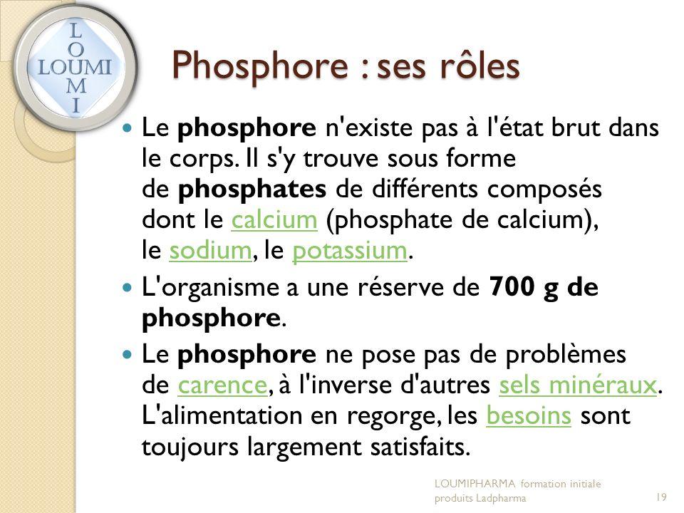Phosphore : ses rôles Le phosphore n existe pas à l état brut dans le corps.