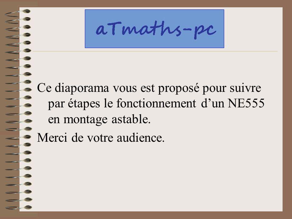 Ce diaporama vous est proposé pour suivre par étapes le fonctionnement dun NE555 en montage astable. Merci de votre audience.