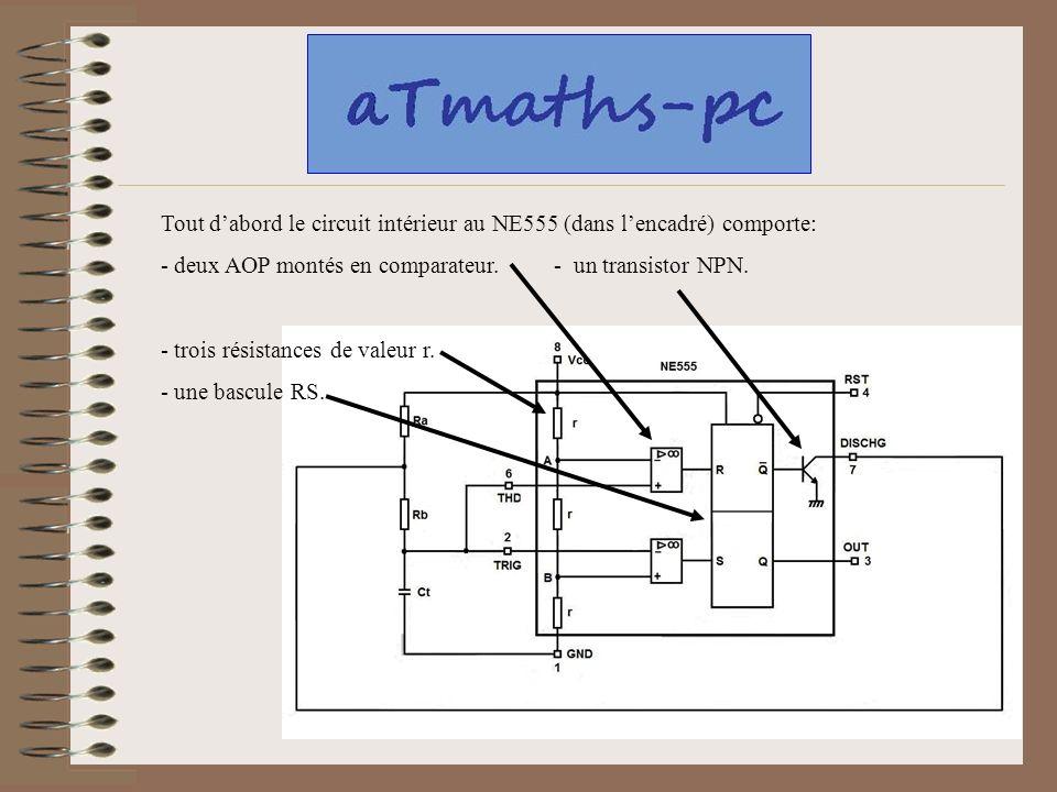 Tout dabord le circuit intérieur au NE555 (dans lencadré) comporte: - deux AOP montés en comparateur. - un transistor NPN. - trois résistances de vale