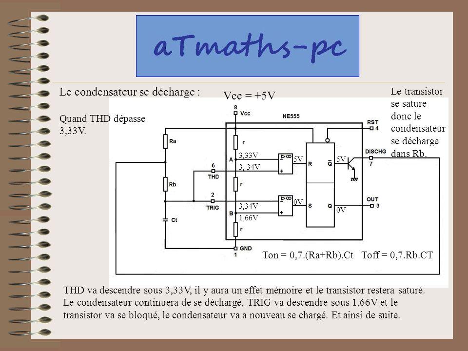 Le transistor se sature donc le condensateur se décharge dans Rb. Le condensateur se décharge : Vcc = +5V 3,33V 1,66V Quand THD dépasse 3,33V. 3, 34V