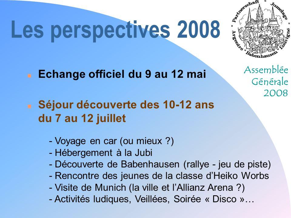Assemblée Générale 2008 Les perspectives 2008 n Echange officiel du 9 au 12 mai n Séjour découverte des 10-12 ans du 7 au 12 juillet - Voyage en car (
