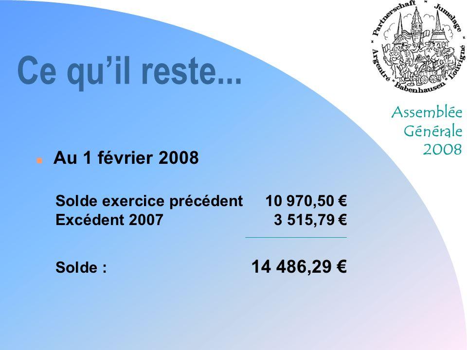 Assemblée Générale 2008 Ce quil reste... n Au 1 février 2008 Solde exercice précédent 10 970,50 Excédent 20073 515,79 Solde : 14 486,29
