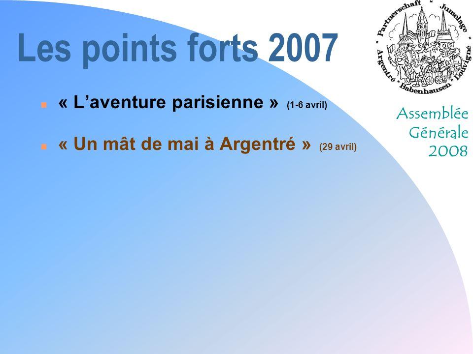 Assemblée Générale 2008 Les points forts 2007 n « Laventure parisienne » (1-6 avril) n « Un mât de mai à Argentré » (29 avril) n Les pompiers à Babenhausen (5-6 mai)