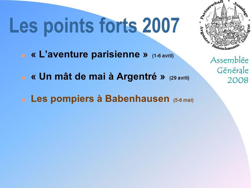 Assemblée Générale 2008 Les points forts 2007 n « Laventure parisienne » (1-6 avril) n « Un mât de mai à Argentré » (29 avril) n Les pompiers à Babenhausen (5-6 mai) n Participation à la foire de Laval (21 mai)