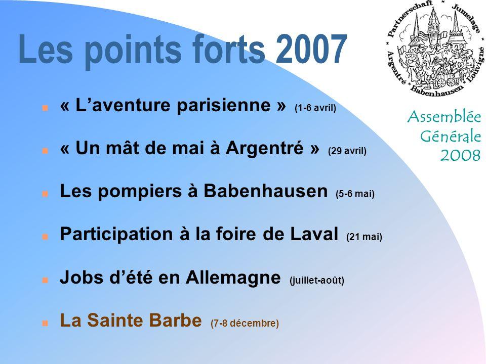 Assemblée Générale 2008 Les points forts 2007 n « Laventure parisienne » (1-6 avril) n « Un mât de mai à Argentré » (29 avril) n Les pompiers à Babenh