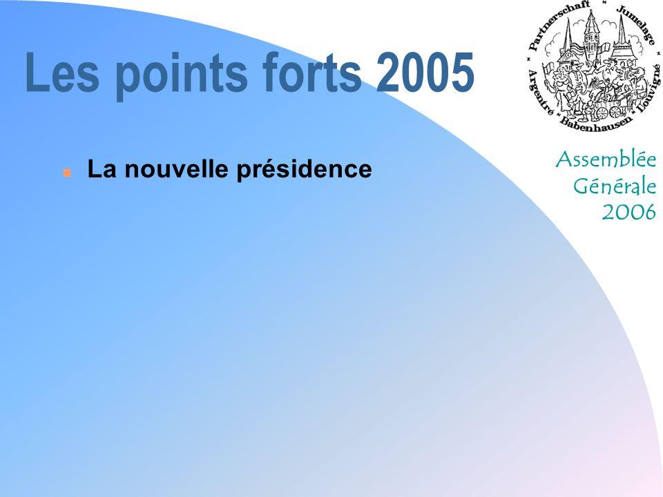 Assemblée Générale 2006 Les points forts 2005 n La nouvelle présidence