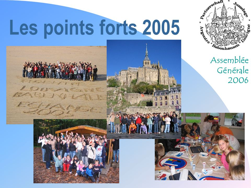 Assemblée Générale 2006 Les points forts 2005 n La nouvelle présidence n Léchange des jeunes à la Toussaint