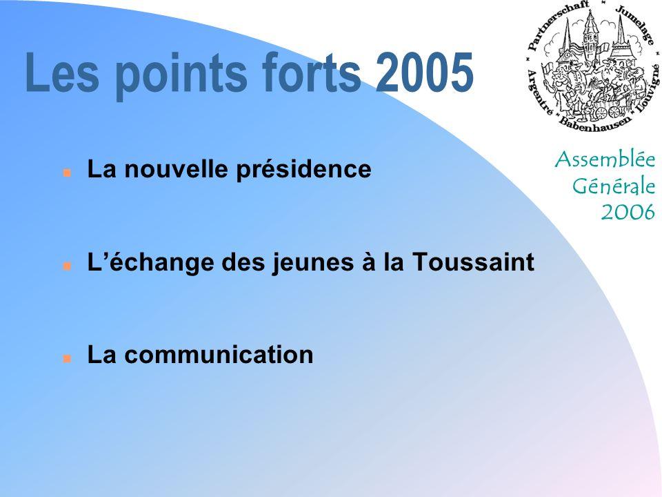 Assemblée Générale 2006 Les points forts 2005 n La nouvelle présidence n Léchange des jeunes à la Toussaint n La communication