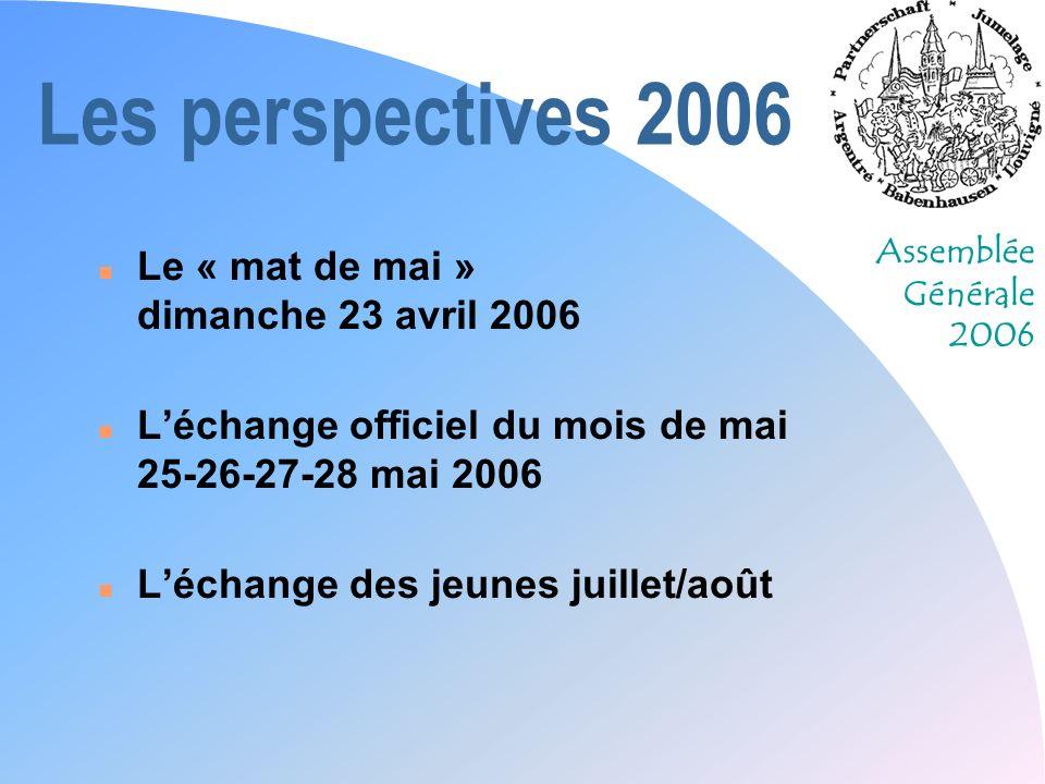 Assemblée Générale 2006 Les perspectives 2006 n Le « mat de mai » dimanche 23 avril 2006 n Léchange officiel du mois de mai 25-26-27-28 mai 2006 n Léc