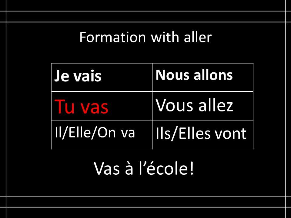 Formation with aller Je vais Nous allons Tu vas Vous allez Il/Elle/On va Ils/Elles vont Vas à lécole!