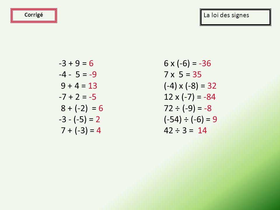 Exercices La loi des signes Effectuer les calculs suivants (prenez une feuille et un crayon pour garder en mémoire vos réponses): -3 + 9 = ? -4 - 5 =