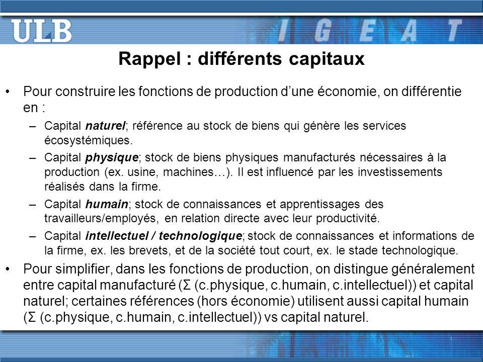 Pour construire les fonctions de production dune économie, on différentie en : –Capital naturel; référence au stock de biens qui génère les services é