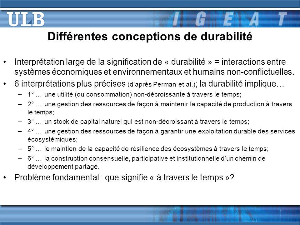 Différentes conceptions de durabilité Interprétation large de la signification de « durabilité » = interactions entre systèmes économiques et environn