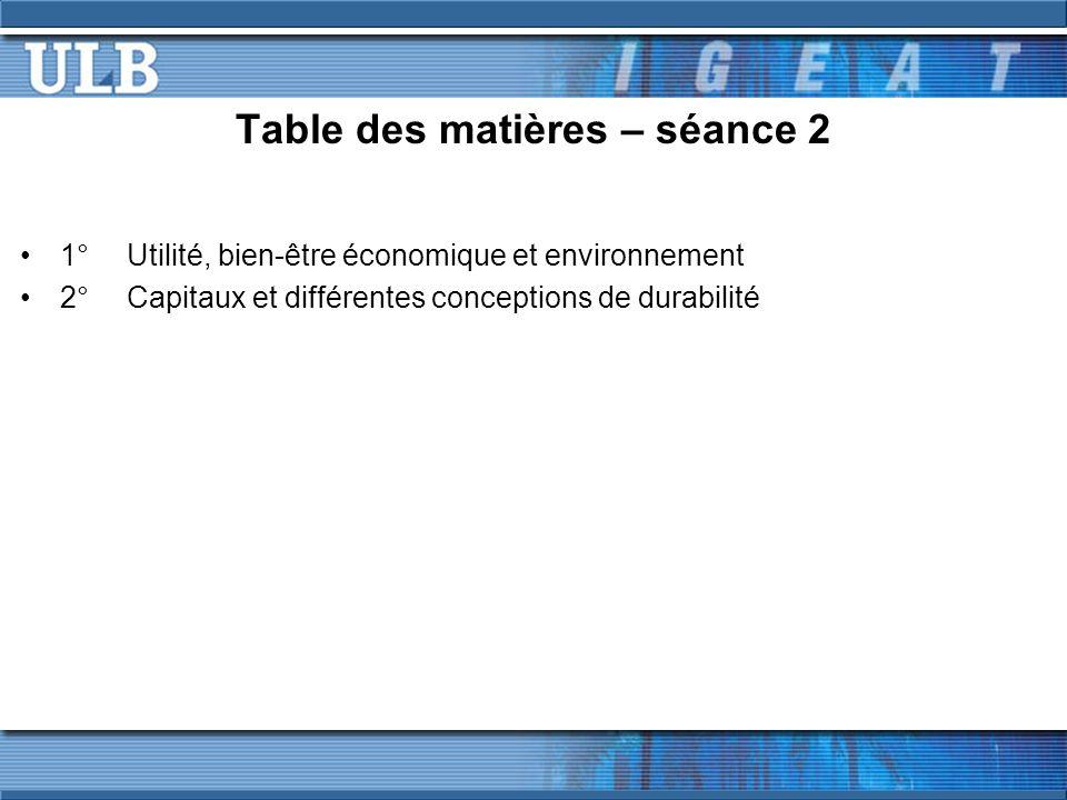 Table des matières – séance 2 1°Utilité, bien-être économique et environnement 2°Capitaux et différentes conceptions de durabilité