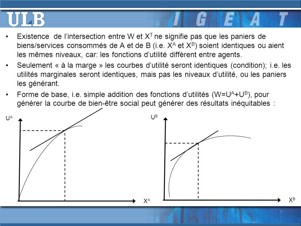Existence de lintersection entre W et X T ne signifie pas que les paniers de biens/services consommés de A et de B (i.e. X A et X B ) soient identique