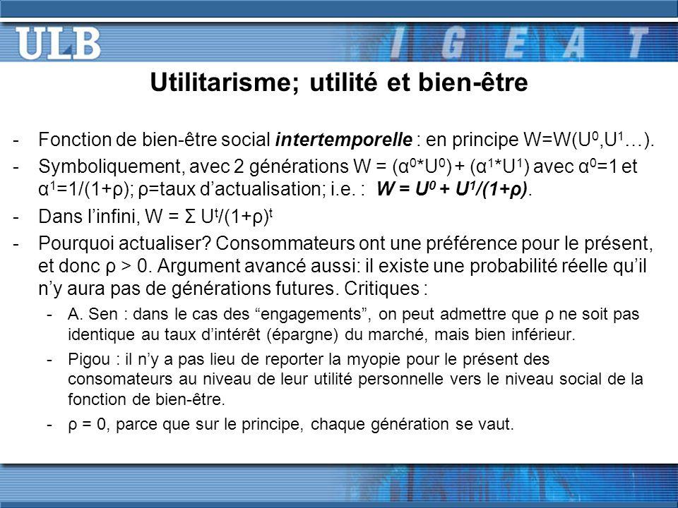 Utilitarisme; utilité et bien-être -Fonction de bien-être social intertemporelle : en principe W=W(U 0,U 1 …). -Symboliquement, avec 2 générations W =