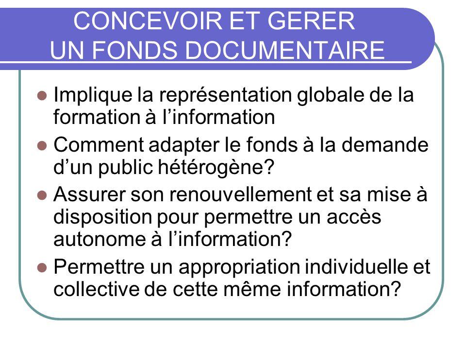 CONCEVOIR ET GERER UN FONDS DOCUMENTAIRE Implique la représentation globale de la formation à linformation Comment adapter le fonds à la demande dun public hétérogène.