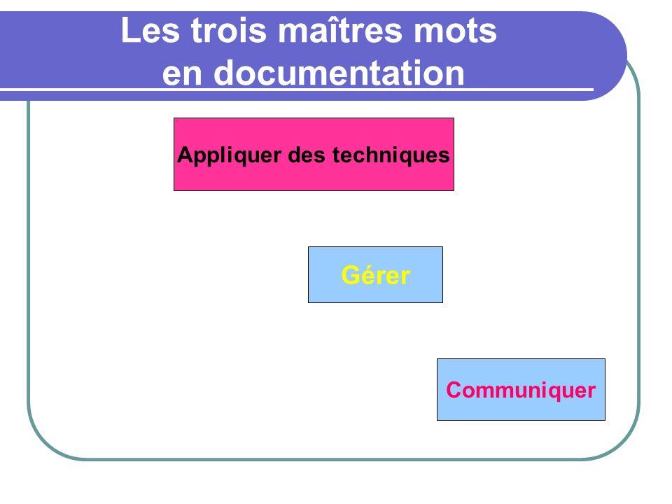 Les trois maîtres mots en documentation Appliquer des techniques Gérer Communiquer