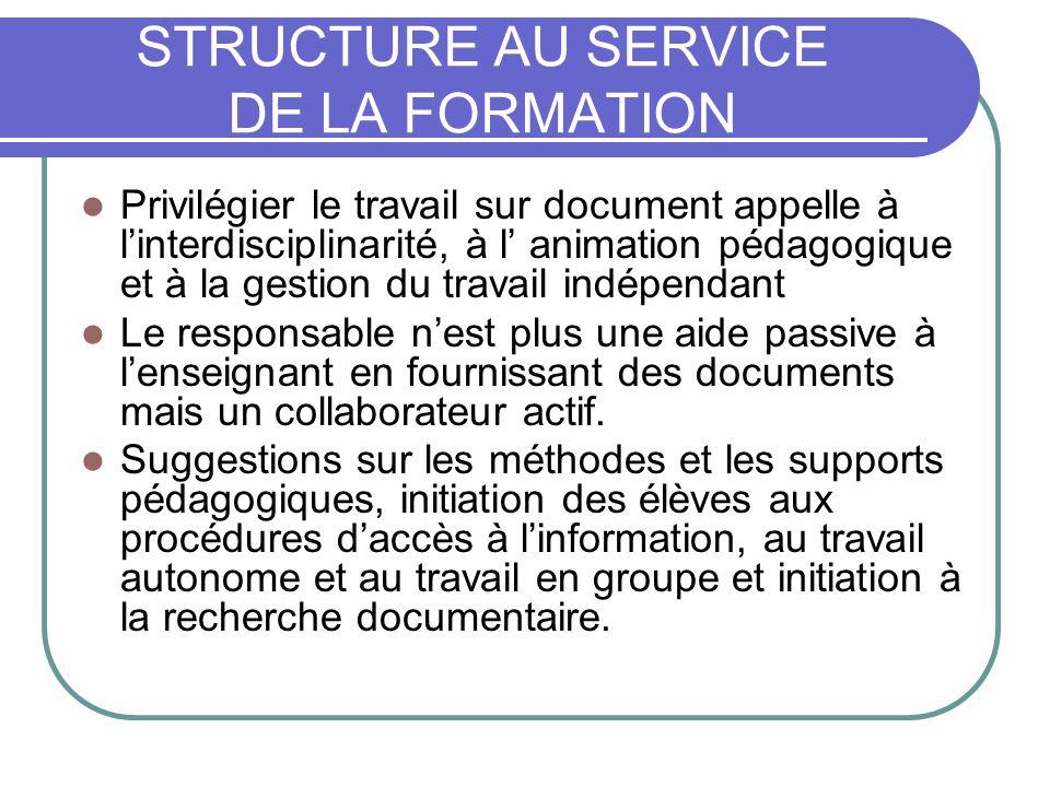 STRUCTURE AU SERVICE DE LA FORMATION Privilégier le travail sur document appelle à linterdisciplinarité, à l animation pédagogique et à la gestion du