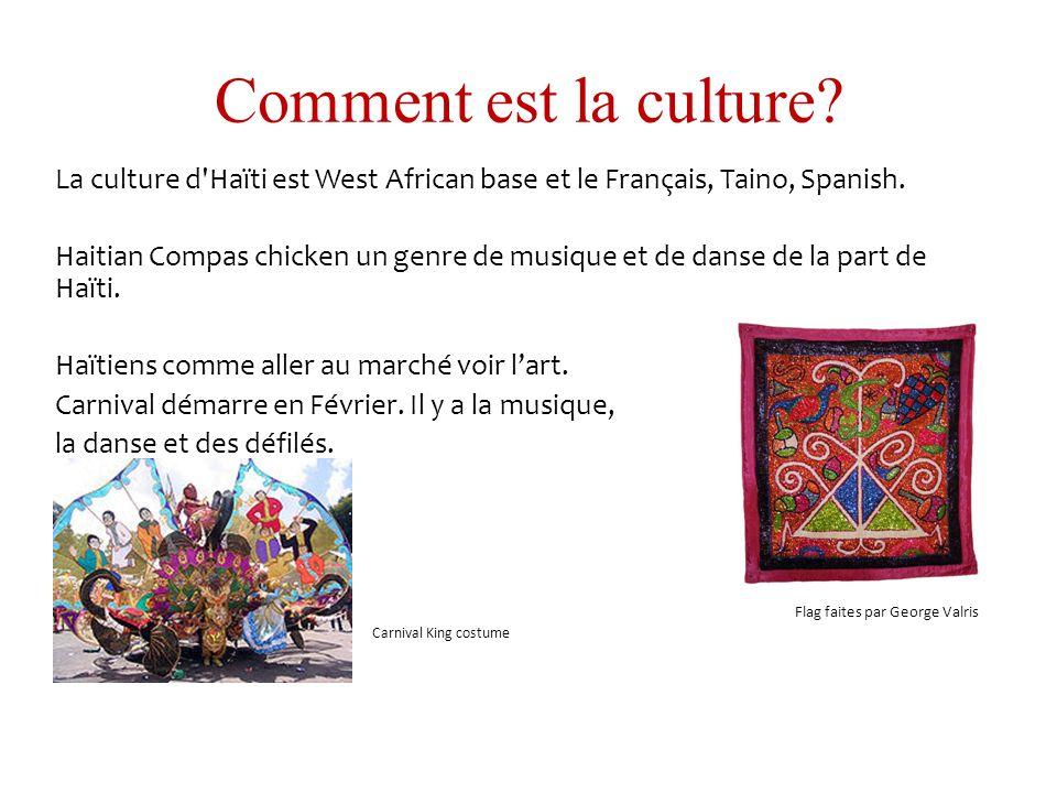 Comment est la culture? La culture d'Haïti est West African base et le Français, Taino, Spanish. Haitian Compas chicken un genre de musique et de dans