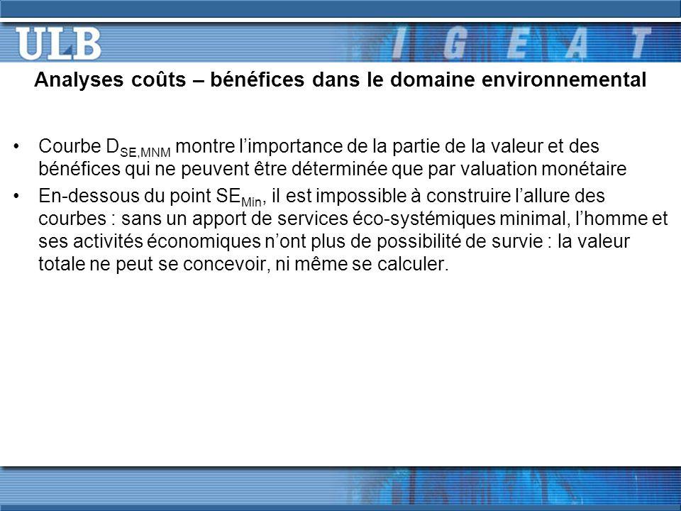 Analyses coûts – bénéfices dans le domaine environnemental Courbe D SE,MNM montre limportance de la partie de la valeur et des bénéfices qui ne peuven