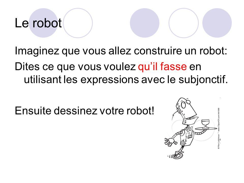 Le robot Imaginez que vous allez construire un robot: Dites ce que vous voulez quil fasse en utilisant les expressions avec le subjonctif. Ensuite des