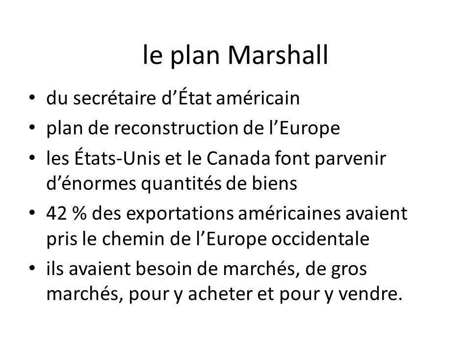 le plan Marshall du secrétaire dÉtat américain plan de reconstruction de lEurope les États-Unis et le Canada font parvenir dénormes quantités de biens