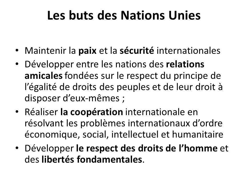 Les buts des Nations Unies Maintenir la paix et la sécurité internationales Développer entre les nations des relations amicales fondées sur le respect
