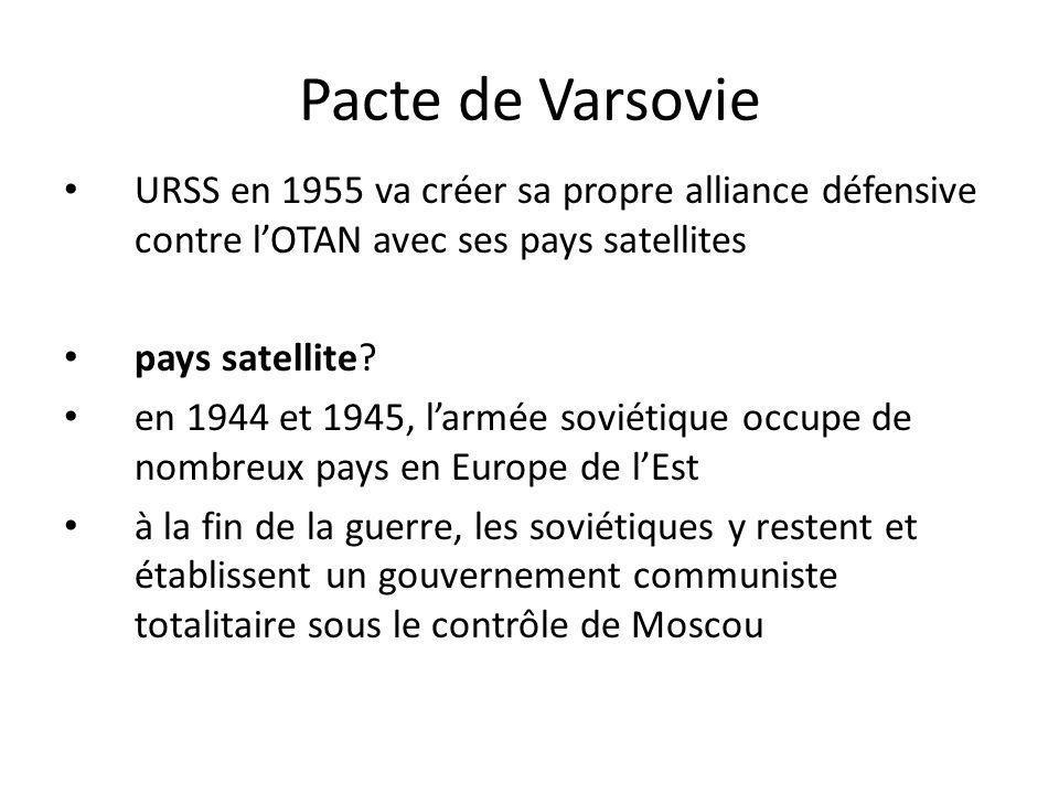 Pacte de Varsovie URSS en 1955 va créer sa propre alliance défensive contre lOTAN avec ses pays satellites pays satellite? en 1944 et 1945, larmée sov