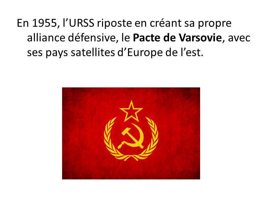 En 1955, lURSS riposte en créant sa propre alliance défensive, le Pacte de Varsovie, avec ses pays satellites dEurope de lest.