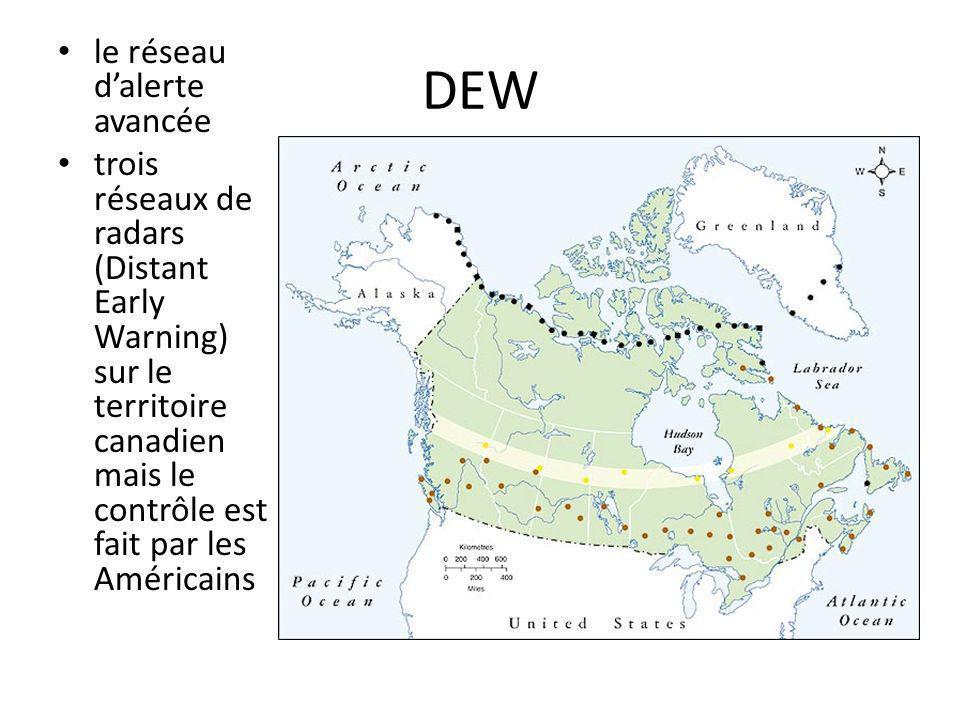 DEW le réseau dalerte avancée trois réseaux de radars (Distant Early Warning) sur le territoire canadien mais le contrôle est fait par les Américains