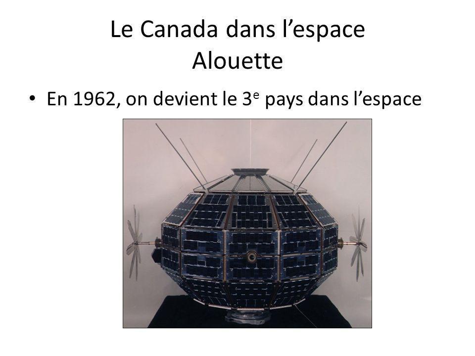 Le Canada dans lespace Alouette En 1962, on devient le 3 e pays dans lespace