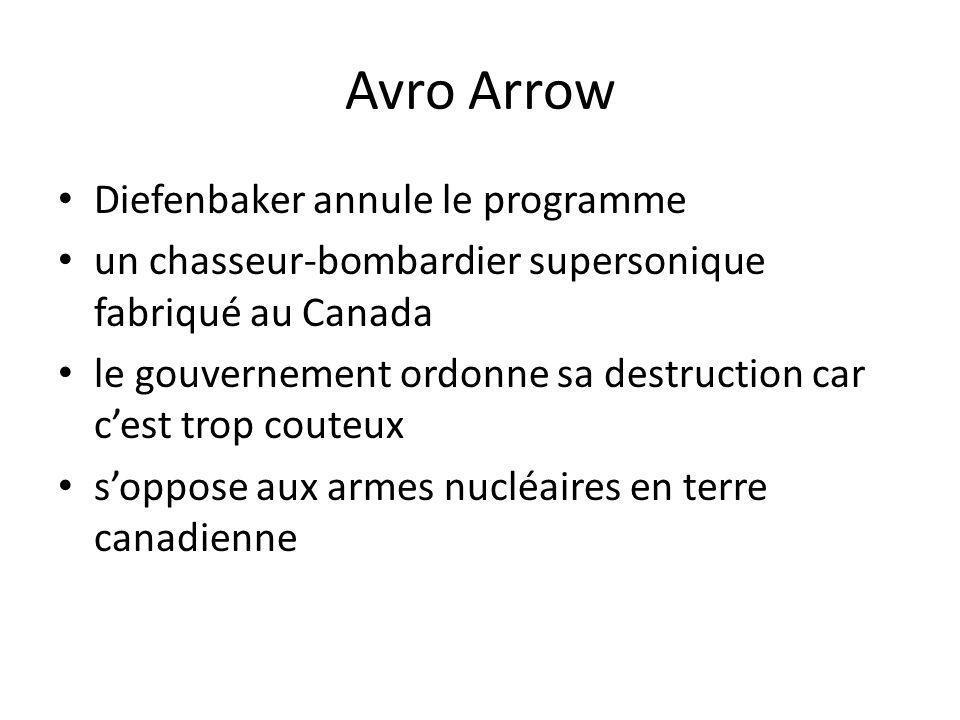 Avro Arrow Diefenbaker annule le programme un chasseur-bombardier supersonique fabriqué au Canada le gouvernement ordonne sa destruction car cest trop