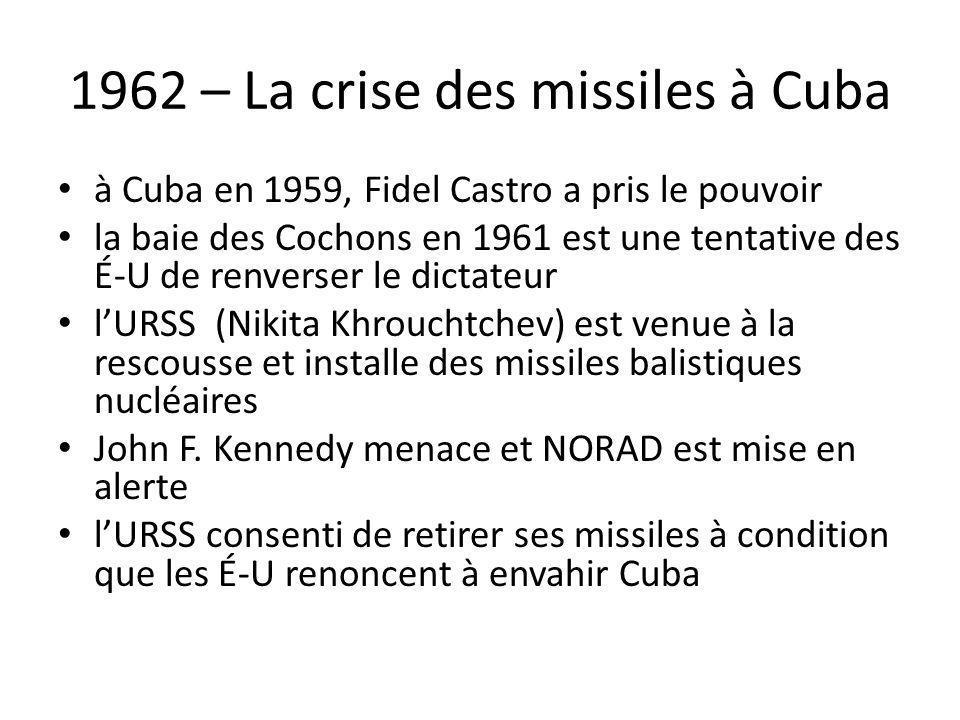 1962 – La crise des missiles à Cuba à Cuba en 1959, Fidel Castro a pris le pouvoir la baie des Cochons en 1961 est une tentative des É-U de renverser